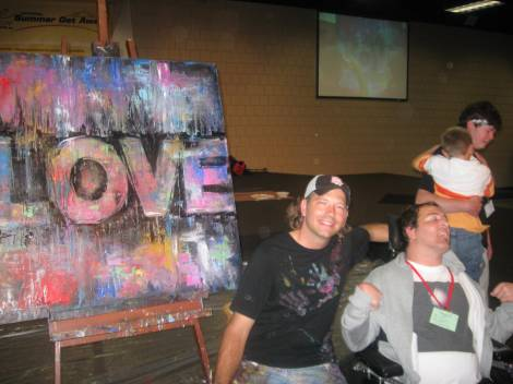 The artist Bill Butler created this painting with the help of every person at camp-he was so loving