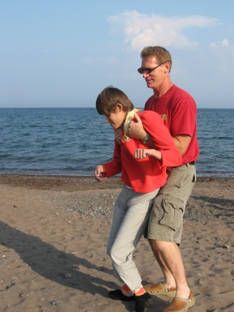 Gregg helped me walk on the shore